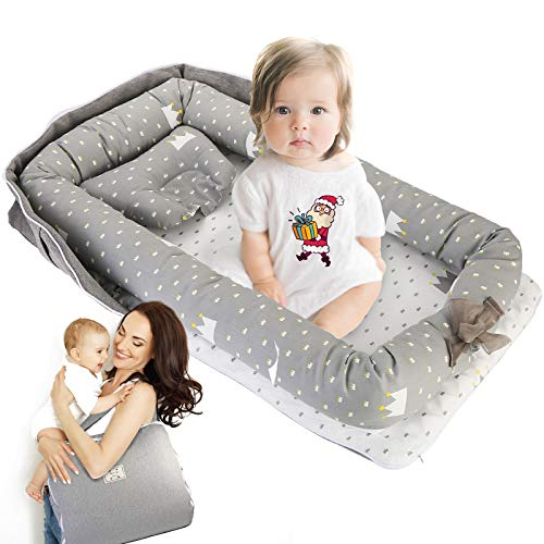 Baby Lounger, GORSETLE Portable Co-Sleeping Baby Nest Cotton Breathable Baby Lounger for Cuddling, Lounging, Napping and Travel Baby Shower and Christmas Gift