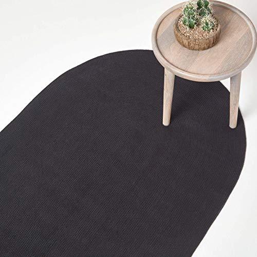Homescapes ovaler Teppich 90 x 150 cm, schwarz, geflochtener Läufer aus Baumwolle, Wendeteppich, handgewebter Retro-Teppich