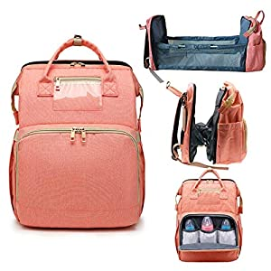 4 in 1 Travel Bassinet Foldable Baby Bed, Diaper Bag Backpack, Mummy Bag Backpack Crib, Travel Crib Infant Sleeper, Nursery Travel Bed Bassinet – Baby Nest with Mattress (Pink)