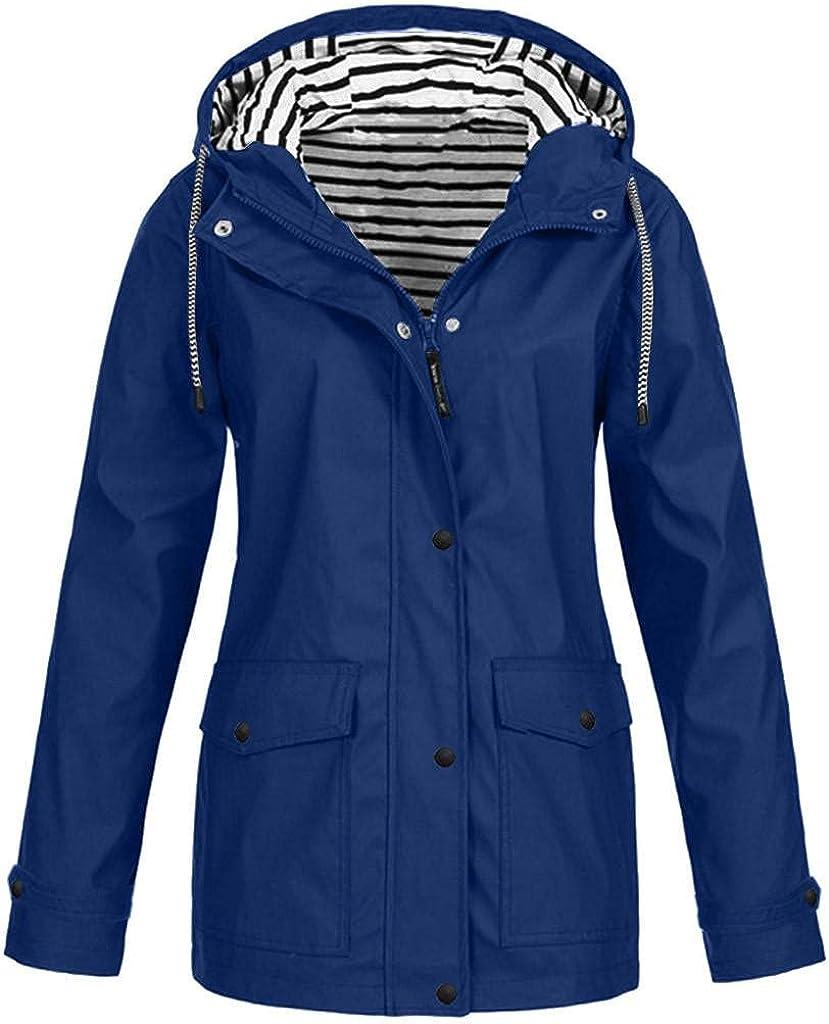Hoodies for Womens Waterproof Raincoat Sweatshirts Loose Hoodie Jacket Coat Outdoor Plus Size Hooded Blouses Windproof