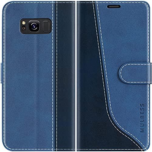 Mulbess Handyhülle Kompatibel mit Samsung Galaxy S8 Hülle Leder, Etui Flip Handytasche Schutzhülle für Samsung Galaxy S8 Case, Diamant Blau