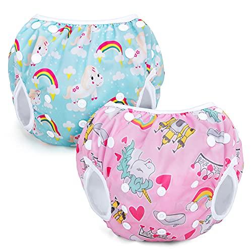 Teamoy Wiederverwendbare Schwimmwindeln(Packung mit 2), Badeanzug Windeln Waschbare Windeln für Babys & Mädchen, Rosa Einhorn+Blaues Einhorn