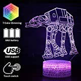 Magiclux 3D Illusion Star Wars Night Light, 7 Color Change Decor Lamp with Remote Control, for Kids and Star Wars Fans (MY203-ATAT Walker)