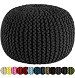 COTTON CRAFT - Hand Knitted Cable Style Dori Pouf - Black - Floor Ottoman - 100% Cotton Braid Cord - Handmade & Hand Stitched - Truly one of a Kind Seating - 20 Dia x 14 High