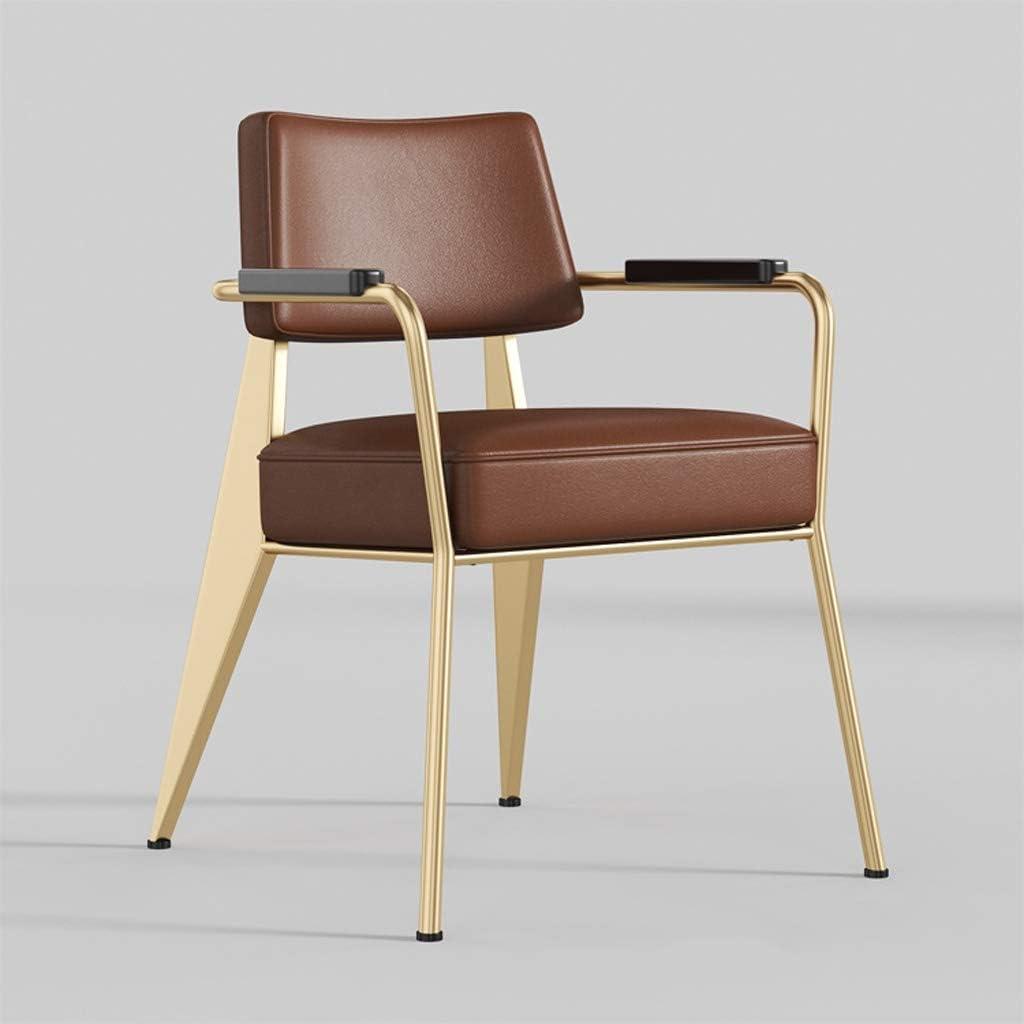 HXF- Chaise de Salle, Chaise de Bureau Simple, créative Dossier, Chaise Loisirs, Maison Adulte Chaise de Salle Durable (Color : Dark Brown-A) Brown-b