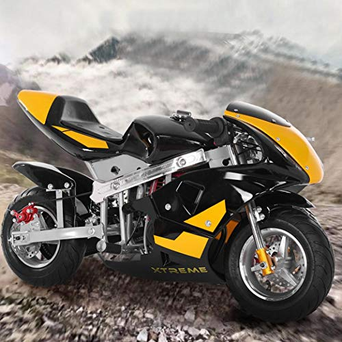 HUZONG Mini Gas Power Pocket Bike, 50cc Gas Dirt Motorcycle, 49cc 4-Stroke Engine Super Size Mini Motor Perfect for Kids and Teens 13 Years and Older, Wide Pneumatic Tires Youth Pit Bikes (Yellow)