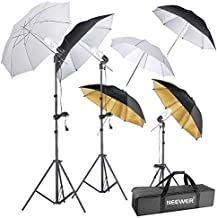 Neewer 600W 5500K Photography Umbrella Lighting Kit Photo Video Studio Continuous Lights for Portrait Shooting Daylight (Translucent/White, Black & Silver, Black & Gold Umbrellas, 3 Stands, 3 Bulbs)