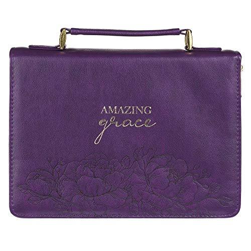 Christian Art Gifts Funda de piel sintética para mujer con diseño de flores, color morado