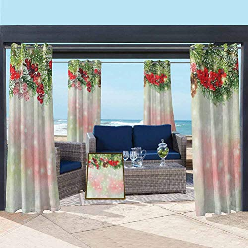 ParadiseDecor Christmas Washable Curtains Outdoor Grommet Top Single Panel Evergreen Fir Branches with Red Ripe Holly Berries Blurred Backdrop Garland Red Green Brown 108W x 63L Inch