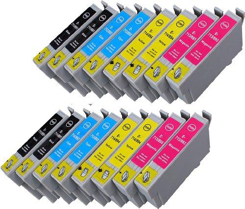 16 Multipack XL Epson T0715 , T0895 Patronen Kompatible. 4 schwarz, 4 cyan, 4 magenta, 4 gelb für Epson Stylus D120, Stylus D78, Stylus D92, Stylus DX4000, Stylus DX4050, Stylus DX4400, Stylus DX4450, Stylus DX5000, Stylus DX5050, Stylus DX6000, Stylus DX6050, Stylus DX7000F, Stylus DX7400, Stylus DX7450, Stylus DX8400, Stylus DX8450, Stylus DX9400F, Stylus Office B40W, Stylus Office BX300F, Stylus Office BX310FN, Stylus Office BX600FW, Stylus Office BX610FW, Stylus S20, Stylus S21, Stylus SX100, Stylus SX105, Stylus SX110, Stylus SX115, Stylus SX200, Stylus SX205, Stylus SX210, Stylus SX215, Stylus SX218, Stylus SX400, Stylus SX405, Stylus SX405WiFi, Stylus SX410, Stylus SX415, Stylus SX510W, Stylus SX515W, Stylus SX600FW, Stylus SX610FW. Tintenpatrone. Tinten kompatible Druckerpatronen. T0711 , T0712 , T0713 , T0714 , T0891 , T0892 , T0893 , T0894 , TO711 , TO712 , TO713 , TO714 , TO891 , TO892 , TO893 , TO894 © Patronenland