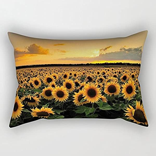 UOOPOO Sunflower Field Conton Linen Small Decoration Throw Pillow 6 X 12 Inches Room Decoration Fun Christmas Or Birthday Gift Include Insert