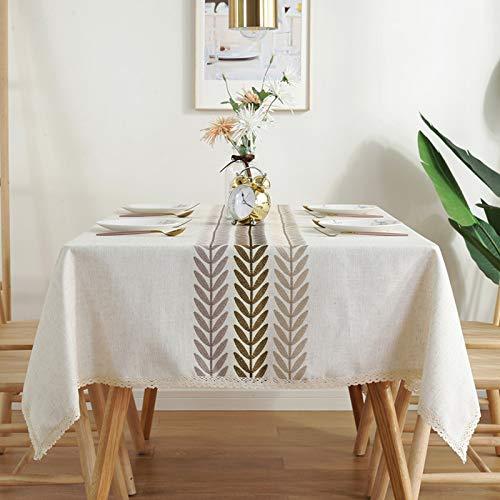 Oukeep Nappe Brodée en Lin Nordique Losange Géométrique Tapis De Table Imperméable Serviette De Couverture Multifonctionnelle