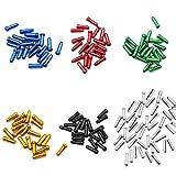 Hrroes 200 Pcs Tapas del Extremo del Cable Freno Bicicleta Funda Cable Cambio MTB de Aluminio Multicolor Terminaciones de Cable de Freno y Cambio de Bici, Apertura 2 mm