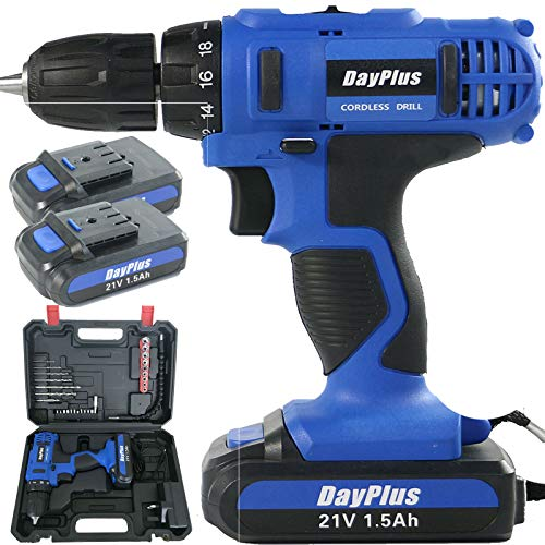 Cordless Drill Driver Kit, 21V Cordless Drill Set with Hammer Action & Magnet, 2 x 1500mAh Batteries-Long Lasting, 45Nm 18+1 Torque Setting Electric Drill with Carrying Case