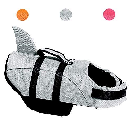 Avanigo Dog Life Jacket Shark Dog Swimming Vest,M Grey