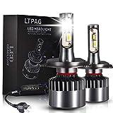 LTPAG Lampadine H4 LED, Nuovo 72W 12000LM Fari Abbaglianti o Anabbaglianti per Auto - Kit Sostituzione per Luci Alogene o Lampade Xenon Luci Luminosa 12V-24V 6000K Bianco - 2 Anni Di Garanzia