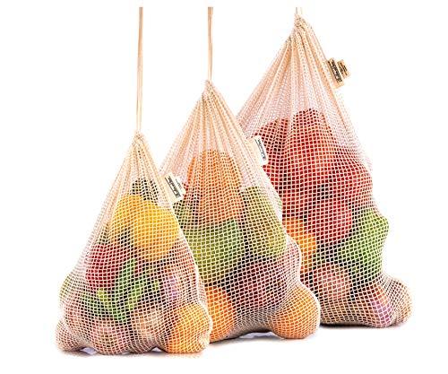 Farmers Market Net Bag - Reusable Produce Bags - Eco-Friendly Produce Bags - Large Produce Cotton Bags - Net Zero Produce Bags - Cotton Produce Bags (3, Set of 3 - X-Large, Large, Medium)