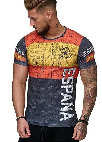 Camisetas Manga Corta Hombre Bandera de España Impresión Camiseta Verano Casual Suelto Camisas tee Shirt Moda O-Cuello Blusa Deportiva Tops