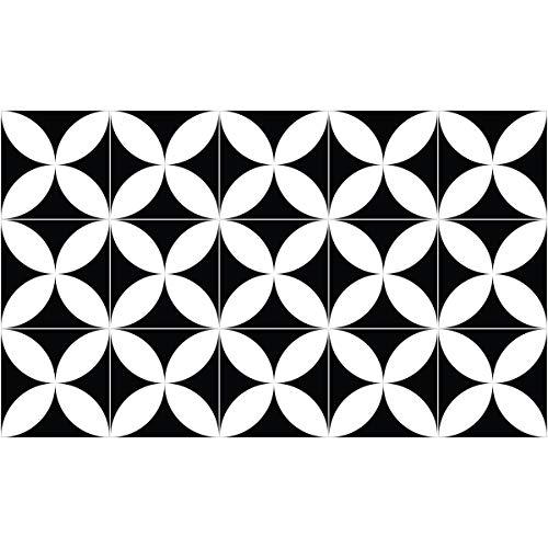Tapis Vinyle pour le sol en PVC - Antidérapant - Protection pour le Sol - Inspiration Carreaux de Ciment - Lavable à la main - Epaisseur 2,2 mm - 60 cm x 100 cm - Noir et Blanc