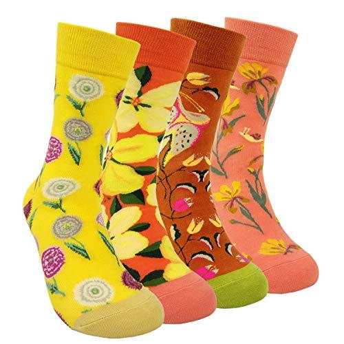 HSELL Damen-Socken mit Blumenmuster, Van Gogh, bunt gemustert, legere Baumwollsocken - mehrfarbig - Medium