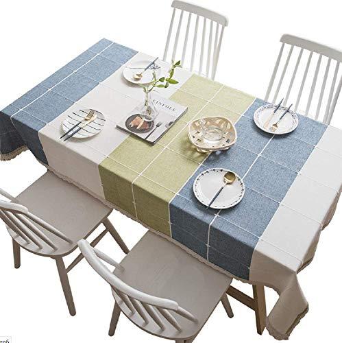 DreamyDesign quadratische Tischnähte Quaste Tischdecke einfache nordische Tischdecke Baumwolle Leinen staubdichte Tischdecke Esstisch Couchtisch Dekoration