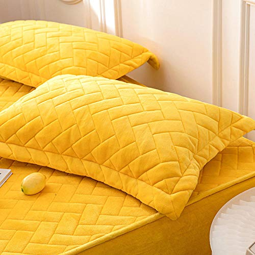 LCFCYY Bed Sheets, Deep Pocket Fitted Sheet,Thick and warm fit sheets in winter, solid color non-slip mattress topper for bedroom Hotel Homestay-Yellow_1_150*200cm