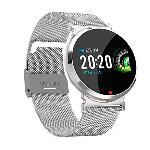 HSZH Smart Watch Herzfrequenz Blutdruck Sauerstoff Schlafmonitor Schrittzähler Finden Anruferinnerung Wecker Smart Watch Stahlband Silber