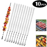 Seilent BBQ Grill Kabob Skewers Stainless Steel,BBQ Kebab Meat Skewers Set 10 PCS,BBQ Skewers...