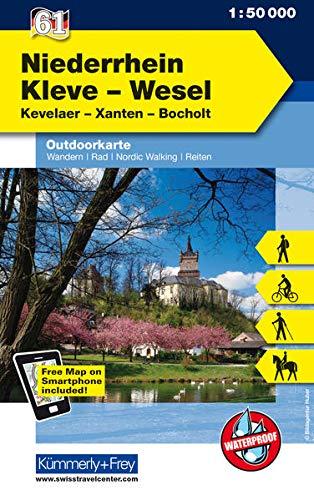 Niederrhein, Kleve-Wesel, Kevelaer, Xanten - Bocholt: Nr. 61, Outdoorkarte Deutschland, 1:50 000, Mit kostenlosem Download für Smartphone (Kümmerly+Frey Outdoorkarten Deutschland)