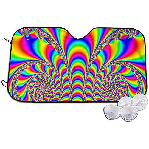 GWrix Parasol Parabrisas Delantero,Sombrilla Automotriz,Protector De Escudo Térmico,Psychedelic LSD Picture Acid Trip Plegable Sombrilla Automotriz Universal Fit, Mantenga El Vehículo Fresco S