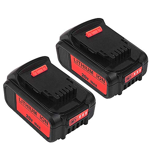 2Pack DCB200 20V MAX 5.0Ah Lithium Ion Replacement Battery Compatible with Dewalt Battery DCB200 DCB204 DCB205 DCB206 DCB205-2 DCB201 DCB203 DCB181 DCB180 20V DCD/DCF/DCG/DCS Series