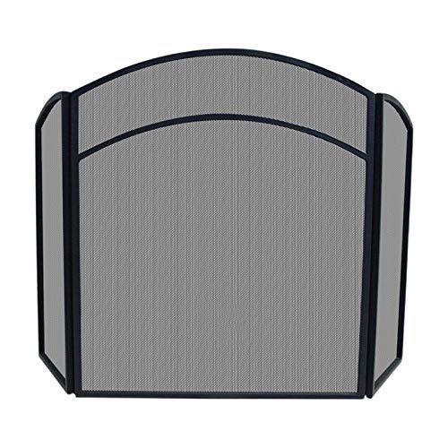 DALIZHAI777 Salvachispas Chimenea 3 Paneles Pantalla de Chimenea con Marco de Arco Black Hierro Forjado Metal Mesh Chimenea Pantalla H 31.9'× W 49.6' Pantalla para Chimenea