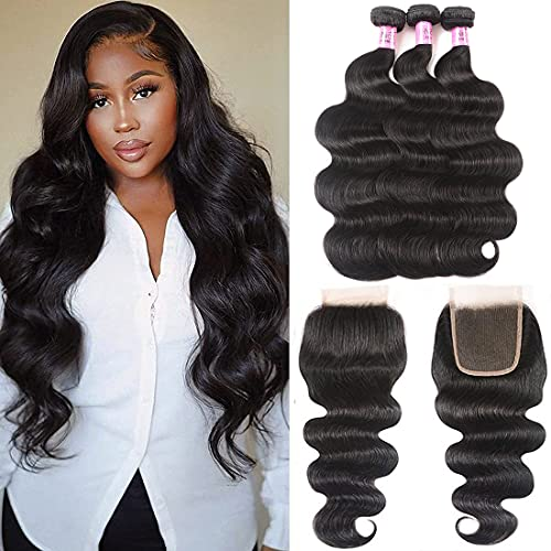 UNice Hair Icenu Series Brazilian Body Wave 3 Bundles with Free Part Lace Closure, Unprocessed Virgin Human Hair Wefts Extensions Natural Black Color (16 18 20+14Closure)