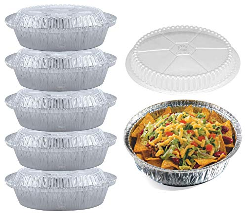 55 Pack - 7 Inch Round Aluminum Pans, with Clear Plastic Lids. Round Tins for Baking and Food Transport. Round Foil Pans. Pie Tins Perfect for Pies, Quiche, Nachos and Pastries by Spare Essentials