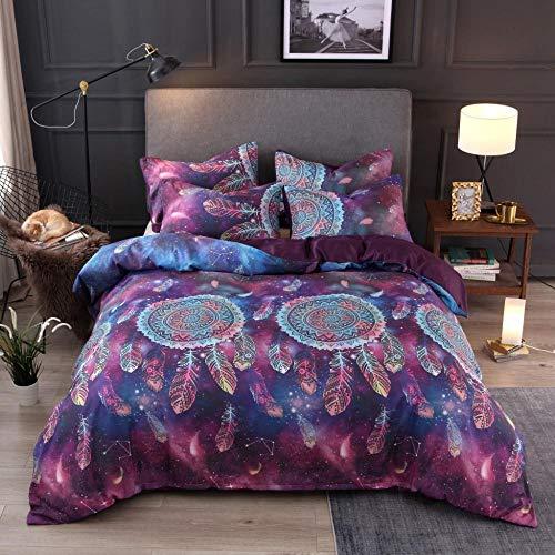 LSECE - Juego de cama de matrimonio, funda de edredón, diseño de unicornio, campanillas de viento, 3D, funda de edredón con diseño de estrellas brillantes