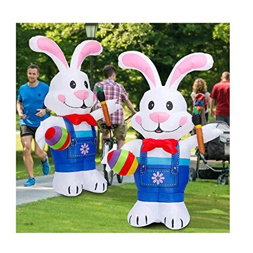 TIREOW - Modelo hinchable de conejo de Pascua, decoración de vacaciones rojas, impermeable, luminoso, hinchable de conejo de Pascua, modelo de largas orejas conejos de inflación automática