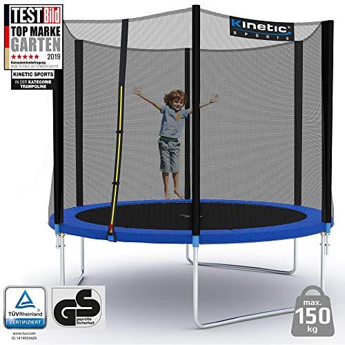 Kinetic Sports Outdoor Gartentrampolin Ø 275 cm, TPLH09, Komplettset inklusive Sprungtuch aus USA PP-Mesh +Sicherheitsnetz +Randabdeckung, bis 150kg, GS-geprüft,UV-beständig, BLAU