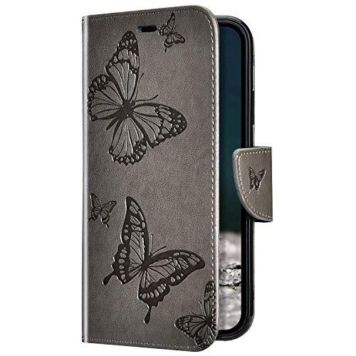 Uposao Kompatibel mit Samsung Galaxy A10 Hülle Vintage Dünne Handyhülle Schmetterling Muster Flip Brieftasche Schutzhülle Karte Halter Leder Hülle Case Ledertasche Ständer Klapphülle,Grau