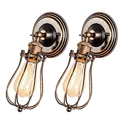 GLADFRESIT Industrial Wall Sconce Rustic Lighting, Retro Metal Barn Wall lamp, Indoor Farmhouse Lights Fixture Adjustable (Bulb Not Included) (Bronze)