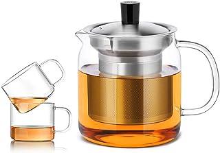Whygry Fuga de té en la Tetera de Vidrio, 500ml / 17.6 oz Tetera Transparente de Vidrio Resistente al Calor Taza pequeña con asa y Tapa y Filtro de Seguridad de la Estufa