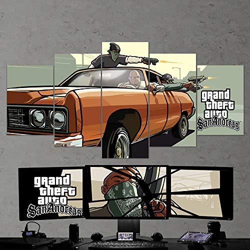 """BA-CO GTA Art mural sur toile de jeu 5 pièces Motif Grand Theft Auto 13 encadré prêt à accrocher GTA San Andreas X-Large 79""""x40"""" blanc"""