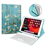 """Fintie Keyboard Case for New iPad 7th Generation 10.2 Inch 2019, Soft TPU Back Stand Cover w/Built-in Pencil Holder, Magnetically Detachable Wireless Bluetooth Keyboard for iPad 10.2"""", Blossom"""