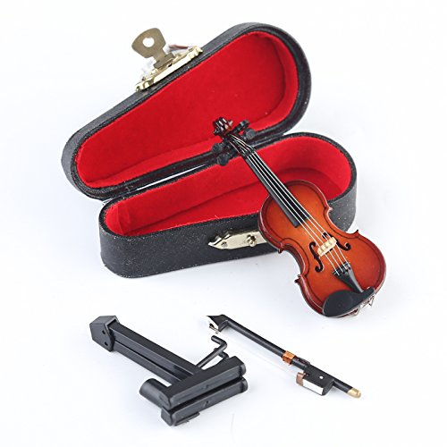 Dselvgvu Wooden Miniature Violin with Stand,Bow and Case Mini Musical Instrument Miniature Dollhouse Model Home Decoration (3.15'x1.18'x0.59')