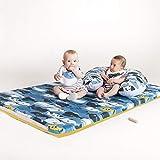 Manta de juegos para bebés acolchada plegable enrollable gimnasio suelo actividades alfombra Tamaño único 130x90 cm Fabricada en España Decoracion Regalo bebe (Happy Whales)