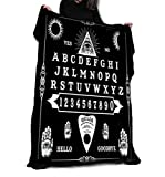 Wild Star@Home Ouija Board Throw Gothic Alternative Occult Furniture Home Decoration Soft Cozy Warm Black Fleece Blanket Tapestry 147cm x 147cm