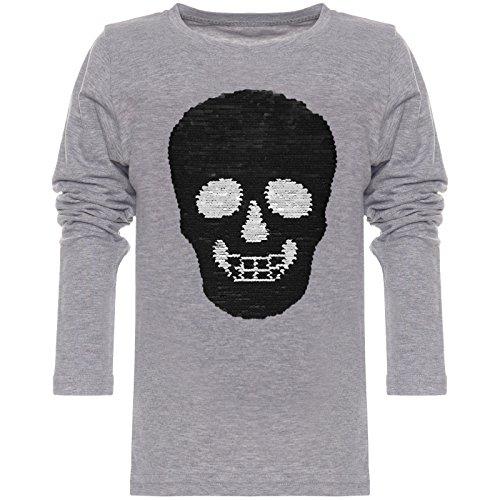 BEZLIT Jungen Langarmshirt Wende-Pailletten Totenkopf Long T-Shirt 21721 Grau Größe 140