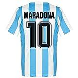 Le Coq Sportif 1986 Argentina Home Retro Shirt + Maradona 10, S, Azul (Sky Blue)