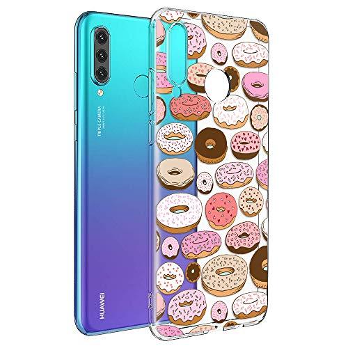 ZhuoFan Cover Huawei P30 Lite, Custodia Cover Silicone Trasparente con Disegni Ultra Slim TPU Morbido Antiurto 3D Cartoon Bumper Case Protettiva per Huawei P30 Lite (Donuts)