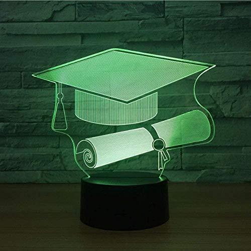 3D Illusie Lampgraduatie Hoed Vorm USB Student Afstuderen Gift