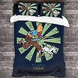 HUA JIE Juego de Funda de Edredón Tintin Retro Japanese 3 Pieces Bedding Set Duvet Cover,Decorative 3 Piece Bedding Set with 2 Pillow Shams
